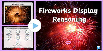 Fireworks Display Reasoning PowerPoint  - reasoning, time, ordering, numeracy, maths,Welsh