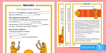 KS1 Navratri  Differentiated Go Respond Activity Sheets - Durga Puja, Hinduism, Hindus, Festivals, Celebrations, digital, interactive.