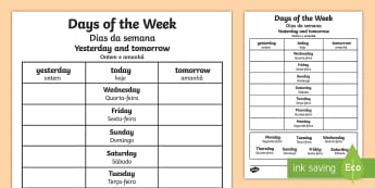 Days of the Week Yesterday and Tomorrow Activity Sheet English/Portuguese - Days of the Week Yesterday and Tomorrow Activity Sheet - days of the week, worksheet, yesterday, tom