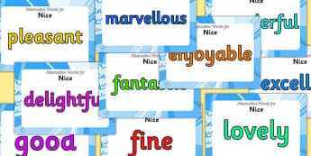 Alternative Words For Nice Display Posters - alternative words for nice, better words for fun, powerful words, synonyms, synonym posters, synonyms for nice