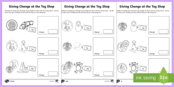 KS1 Maths Giving Change at the Toy Shop Activity Sheets - Money, Maths, Numeracy, Coins, Key Stage One, KS1, Year 1, Year 2, Key Stage 1, Change, Giving Chang