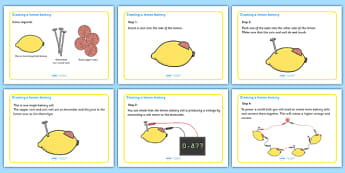 How To Make A Lemon Battery Display Posters - how to make a lemon battery, battery, lemon, display, poster, sign, how to make, physics, creating, creative, items, required, instruction, instructions, coin, nails, KS2
