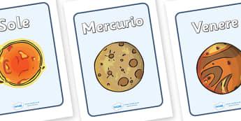 The Planets Display Posters (Italian) - Space, planets, planet, A4, display, posters, moon, sun, earth, mars, neptune, pluto, uranus, jupiter, saturn