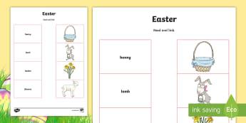 Feuille d'activités avec des mots et des images à relier : Pâques -- Anglais LV - FR Pâques (Easter) 16th April, vocabulaire, symboles, compréhension écrite,French