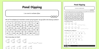 Missing Multiples of Four Activity Sheet - Number and Place Value, multiples, times tables, steps of, counting on, worksheet, problem solving,