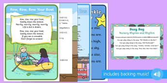 Nursery Rhymes and Rhythm Busy Bag Prompt Card and Resource Pack - Phase 1, Aspect 4, Rhythm, Rhyme, letters and sounds, phonics, drum, pots and pans, songs, percussio