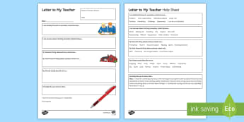 Letter to My New Secondary Form Teacher - Secondary Transition Resources, letter, transition, form teacher, induction, about myself