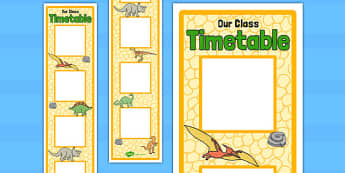 Dinosaur Themed Vertical Visual Timetable Display - display, timetable