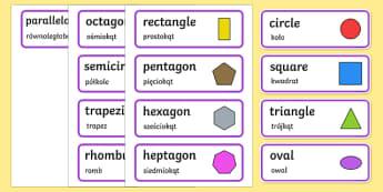 2D Shape Word Cards English/Polish - 2D Shape Word Cards - 2D Shape names, Shape Flashcards, Shape Pictures, Shape Words, 2D flashcards,