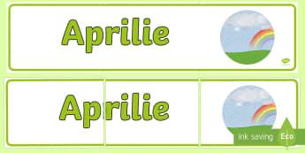Aprilie Banner - lunile anului, decorul clasei, activități, panoul clasei, activități lunare,Romanian
