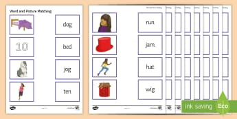 CVC Word and Picture Matching Activity Sheet - reading skills, literacy, consonant, vowel