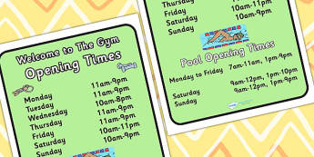 Gym Role Play Opening Times - roleplay, health, signs, props, PE