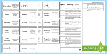 Edexcel Key Concepts in Chemistry Loop Cards - isotopes, avogadro's constant, empirical formula, John Dalton, Protons, exams, gcse, edexcel, chemi