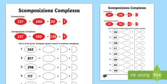 Esercizio Scomposizione Complessa - scomposizione, numeri, semplici, complessa, matematica, italiano, italian, valore, posizionale