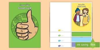 Good Luck Greetings Cards Arabic/English - goodbye, leaving assembly, leaving, maternity, new job, EAL, Arabic.,Arabic-translation