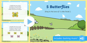 5 Butterflies Song PowerPoint - The Crunching Munching Caterpillar, Sheridan Cain, life cycle of a butterfly, PowerPoint, caterpilla
