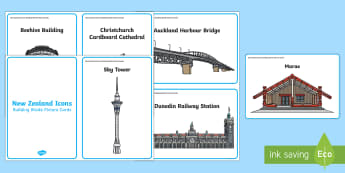 New Zealand Icons Building Bricks Picture Cards - Building Bricks, New Zealand, NZ Icons, Structures, Buildings, construction, building blocks, model