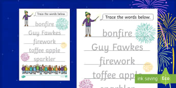 Bonfire Night Word Tracing Activity Sheet