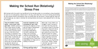 The Secrets of a Smooth School Run Parent and Carer Information Sheet - wellbeing, health, fitness, parents, carers, bullying, support, emotional health, mental health, rel