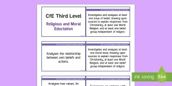 CfE Third Level Religious and Moral Education Lanyard-Sized Benchmarks - CfE Benchmarks, tracking, assessing, progression, Religious and Moral Education, RME, RE, lanyard-si