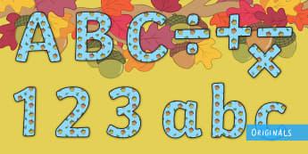 Little Acorns Display Lettering - twinkl original, display, display lettering, letters, alphabet, KS1, EYFS