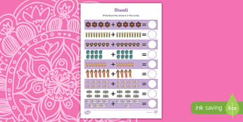 Diwali Up to 20 Addition Sheet