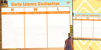 Early Islamic Civilisation Topic KWL Grid - islamic, kwl, grid
