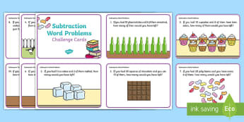 Subtraction Word Problem Challenge Cards - Canada KS1 Maths Resource Movement, canada, canadian, math, subtract, subtraction, minus, less than