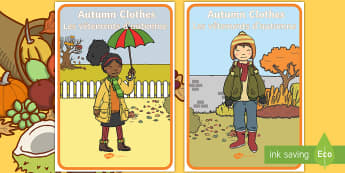 Autumn Clothes Display Posters English/French - Autumn, seasons, september, october, topics, ks1, harvest, clothing, clothes
