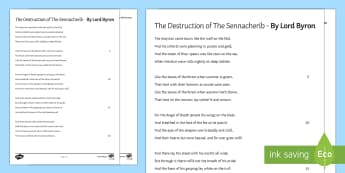 'The Destruction of the Sennacherib' by Lord Byron Poem - GCSE Poetry, Lord Byron, George Gordon Byron, The Romantics, Romantic Poetry, anapaestic tetrameter,