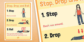 Stop, Drop and Roll Poster - stop, drop, roll, poster, fire safety, display, fire