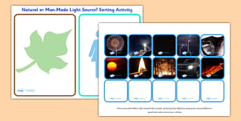 Natural and Man Made Light Source Sorting Activity - sorting activity, light source, natural and man made, natural and man made light source, light