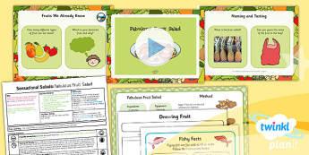D&T: Sensational Salads: Fabulous Fruit Salad KS1 Lesson Pack 6