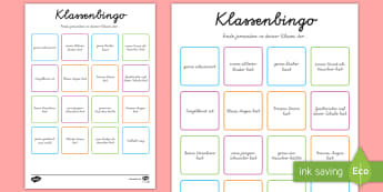 Klassenzimmer Bingo - Klassenzimmer, Bingo, Willkommen, Spiel, Übergang, neue Klasse, neues Schuljahr, Schuhljahresbeginn