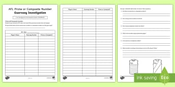 AFL Prime or Composite Number Guernsey Investigation Activity Sheet - ACMNA122, Prime number, composite number, prime and composite, place value, worksheet, year 6 maths,