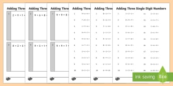 Adding 3 Single Digit Numbers Practice Activity Sheets - Year 2, addition, calculations, practice, assessment,Australia