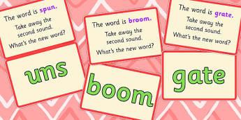 Phoneme Deletion Script Cards Splitting Blends - phoneme, cards