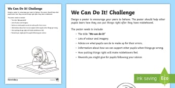 We Can Do It! Challenge Activity Sheet - Challenge, Anti-bullying, classroom management, behaviour, rewards, worksheet