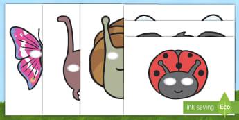 Máscaras de juego de rol: Los bichos - libélula, abeja, caracol, hormiga, típula, escarabajo, mariposa, oruga, gusano, mariquita, cochini