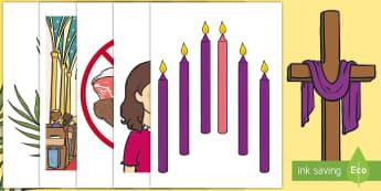 ROI Lent Cut-Outs - Aistear, Infants, English Oral Language, School, easter, Lent, Easter, ROI, Religion, Irish