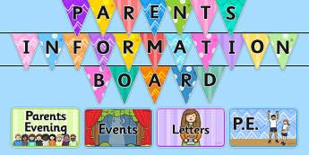 Parent Notice Board Pack - notice board, notice board for parents, board, information board, parent board, information, parent information, parent section