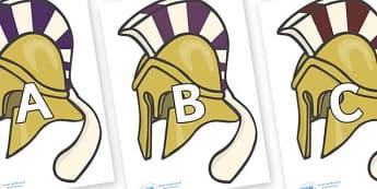 A-Z Alphabet on Helmets - A-Z, A4, display, Alphabet frieze, Display letters, Letter posters, A-Z letters, Alphabet flashcards