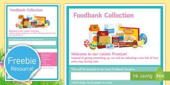 Foodbank Lenten Promise Display Poster  - Food Bank, foodbank, hunger, charity, volunteer, community, food parcels, crisis, Lent, Lenten, East