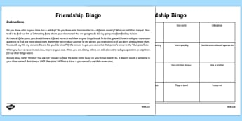 Back to School New Class Friendship Bingo Activity-Scottish