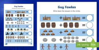 Guy Fawkes Themed Up to 10 Addition Sheet