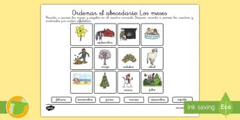 Ficha de actividad: Ordenar los meses - meses, ordenar, orden alfabético, abecedario, orden, ficha, lengua, vocabulario, ,Spanish
