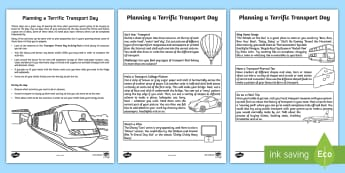 Transport Theme Day Activity Sheet - cars, boats, trains, planes, travel, holidays, days in, family, parents, worksheet