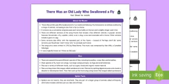 There Was an Old Lady Who Swallowed a Fly Fact Sheet for Adults - EYFS, Early Years, KS1, Science, Understanding the World, exploration, discovery, finding out, exploration, facts, information, animals, minibeasts, song, rhyme
