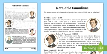 Note-able Canadians Fact File - Canada, prime minister, money, canadian, people of canada