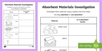 Absorbent and Non-Absorbent Materials Activity Sheet - Identify and compare the suitability of a variety of everyday materials, Compare and group together